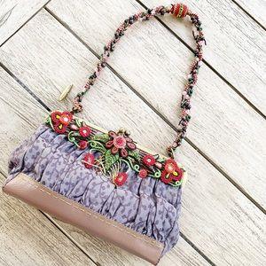 MARY FRANCES Beaded Flower & Vines Beaded Bag